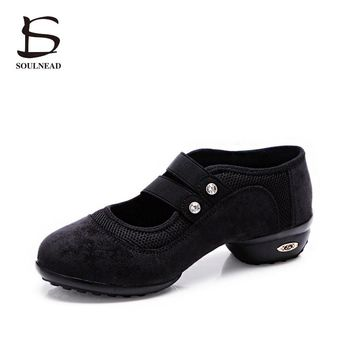 Women Sneakers Square Dance Shoes Jazz Hip Hop Shoes Sneakers On The Platform Black/Green/Red Footwear Soft Outsole Dancing Shoe