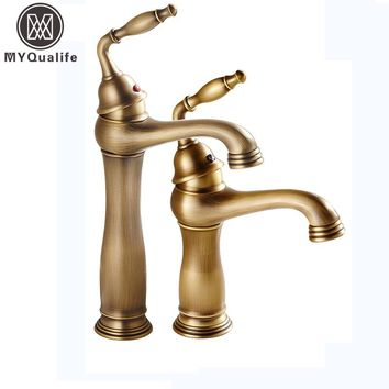 European Style Bathroom Brass Vanity Sink Faucet One Handle Deck Mounted Washing Basin Mixer Taps Hot and Cold Water