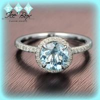 Aquamarine Engagement Ring 1.3ct, 7mm Round Cut in a  Diamond Halo Setting 14K White Gold