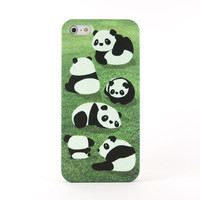 Panda iPhone case, iPhone 5 case, iPhone 4 case - Lovely pandas spend time with each other on the green grass