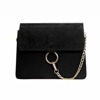 SHERO Leather And Suede Shoulder Bag |Black| In Bags| JESSICABUURMAN [13658] - $89.00 : JESSICABUURMAN.COM
