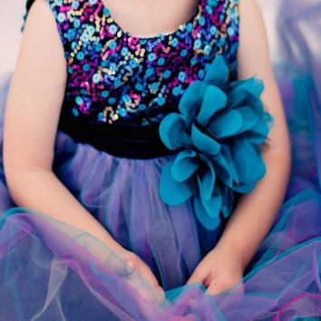 Teal & Black Multi Color Sequins, Satin and 3 Layers of Tulle Dress (Baby Girls Sizes)