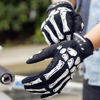 Full finger Cycling Bicycle Touch Gloves road Mountain bike sports gloves non-slip breathable gloves warm damping gloves Skull
