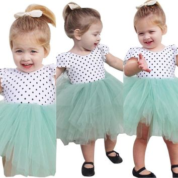 Fashion Baby Kids Girl Dress with Dot Printing Lace Short Sleeve Tulle Tutu Party Gown Lolita Princess Dresses Summer Dress