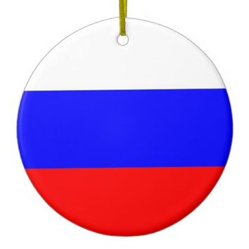 Ornament with flag of Russia