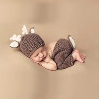 Baby Shower Gifts Crochet Knit Deer Costume Clothing Sets Size Newborn Through 6 Months [9305898183]