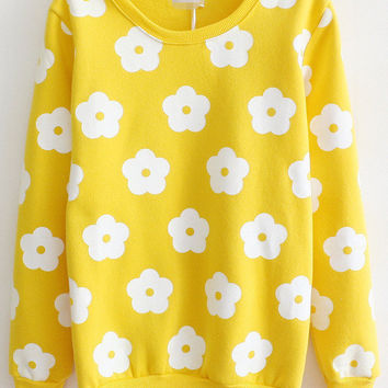 Yellow Flower Prints Sweatshirt