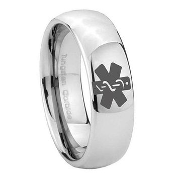 8MM Classic Mirror Dome Medical Alert Tungsten Carbide Silver Engraved Ring