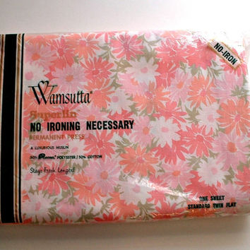 Wamsutta Twin Flat Sheet Floral in Package Vintage Superlin  Pinks Green Retro Flowers New Old Stock