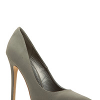 Dark Grey Faux Nubuck Pointy Toe Classic Pumps