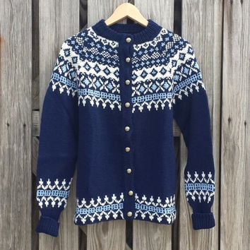 VTG Fair Isle Women's Wool Sweater Cardigan - Navy Blue & White - Beautiful Quality - SZ S / M