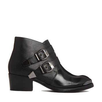 Bronx Leather Cuban Heeled Boots