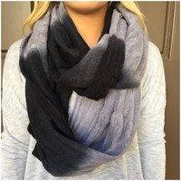 Black & Grey Ombre Infinity Scarf - Black & Grey Ombre Infinity Scarf