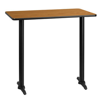 30'' x 42'' Rectangular Natural Laminate Table Top with 5'' x 22'' Bar Height Table Bases