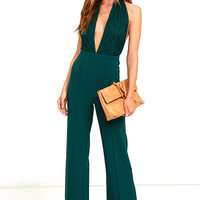 Keep Playing That Song Dark Green Halter Jumpsuit