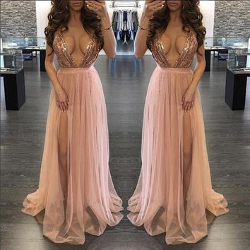 Women Sexy Summer Dress Sequins Long Formal Prom Party Ball Gown Evening Bridesmaid Long Backless Sleeveless Dress