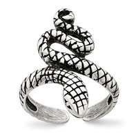 Antiqued Snake Toe Ring in Sterling Silver