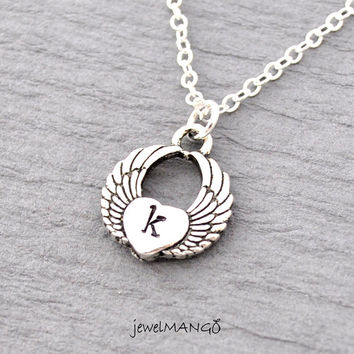 Angel wing necklace, heart Wing, Angel Wing Pendant, Dainty everyday jewelry, Heart Winged Pendant Necklace, heart, initial, monogram, wing