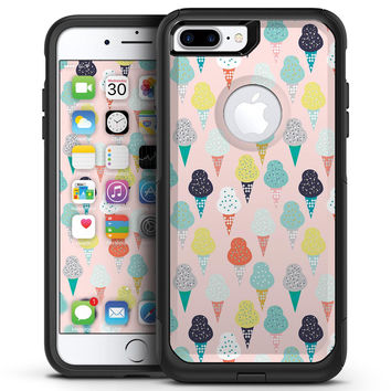 The All Over Pink Ice Cream Cone Pattern - iPhone 7 or 7 Plus Commuter Case Skin Kit