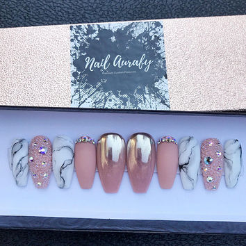 Luxe Marble- Nude Chrome Ombre Swarovski Pixi White Marble Matte/Press on Nails/Fake Nails/False Nails/Glue on Nails