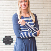 Broaden Your Horizons Navy Stripe Top