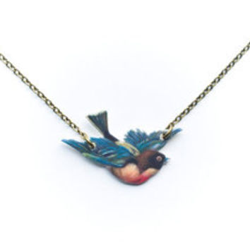 Bird Necklace Robin Flying Bird Swallow Victorian Art Jewelry Antiqued Brass Nature