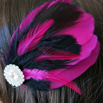 Gatsby Wedding, Bridesmaids, Feather Hair Accessory, Feather Fascinator, Bridal Hair Piece, Pink, Black, 1920s, Gatsby