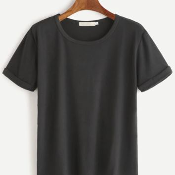 Ultra Soft Rolled Sleeve Dark Night T-Shirt