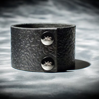 Leather Cuff  - Black Latigo - Embossed with Thorns - Nickel Fasteners - 2 Inches Wide