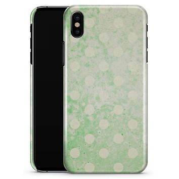 Faded Grunge Green White Polka Dot Pattern - iPhone X Clipit Case