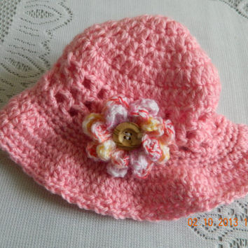 Girls Floppy hat crocheted in pinks/photo prop/Toddler/Newborn/Teen/Adult/Beach hat/FREE Shipping