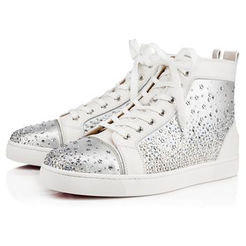 Best Online Sale Christian Louboutin Cl Galaxtidude Flat Version Latte Strass 17s Shoes 3170319w080