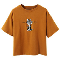 Tan Embroidery Squirrel Short Sleeve T-shirt