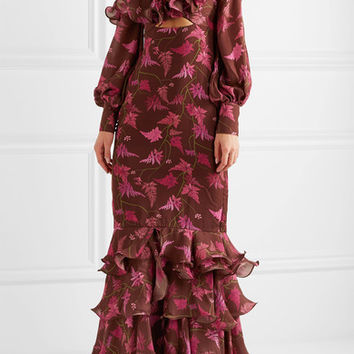 Johanna Ortiz - Lollia Paulina one-shoulder ruffled printed silk-georgette gown