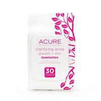Acure Organics Towelettes, Clarifyng Acne - 30 Towelettes