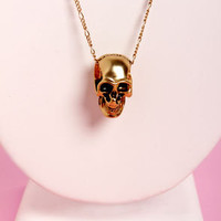 Skull-ar System Gold Skull Necklace