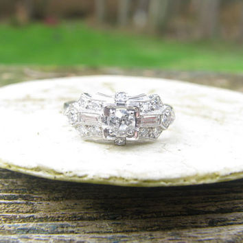 Beautiful Platinum Art Deco Diamond Engagement or Wedding Ring - Old Mine Cut and Baguettes - Fine Quality