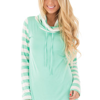 Mint and White Striped Long Sleeve Cowl Neck Top