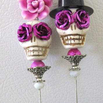 Day of the Dead Cake Topper Giant Purple Passion Sugar Skull Wedding Lapel Pin Bride & Groom - Rockabilly Sweeties