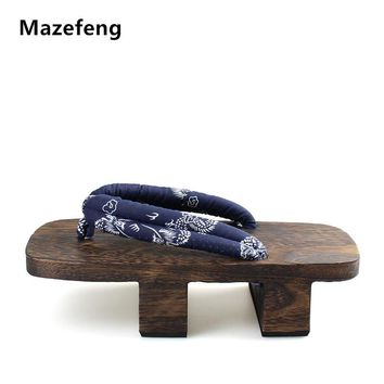 Mazefeng Heel Flip-flops Men platform sandals Japanese Geta Clogs Wooden Paulownia Men Slippers cosplay shoes Men Geta Clogs