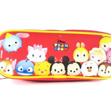 Disney Tsum Tsum Pencil Case Zippered Pouch Bag-Red