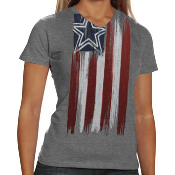 Dallas Cowboys Ladies Colors Tri-Blend V-Neck T-Shirt - Ash