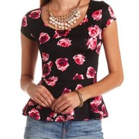 Cap Sleeve Floral Print Peplum Top by Charlotte Russe - Black Combo