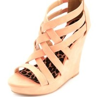 Strappy Caged Platform Wedges by Charlotte Russe - Blush