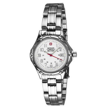 Wenger 79040 Women's Swiss Military White Dial Stainless Steel Bracelet Watch