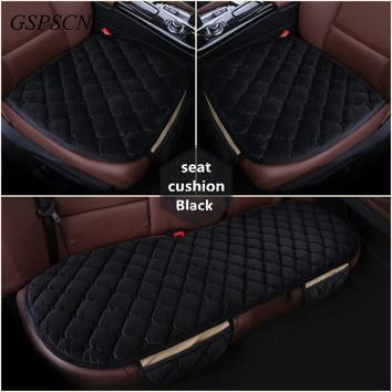 GSPSCN 3Pcs Set Universal Soft Warm Car Seat Covers Seats Cushion For Front Back Seat Chair Black Brown Car Pad Seat Protector