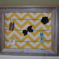 Framed Chevron Jewelry/Hair Accessory Display - Sunshine Yellow