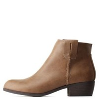 Taupe Qupid Low Chunky Heel Booties by Qupid at Charlotte Russe