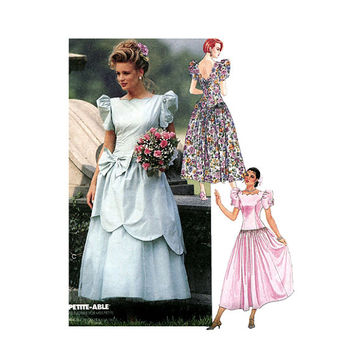 DRESS PATTERN Drop Waist Fit & Flare Dress Bridal Wedding Gown Scallop Neck Petite-able McCalls 6388 Vintage Sewing Patterns UNCuT Bust 32.5