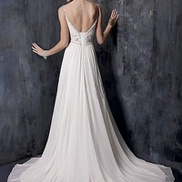 Buy Elegant Chiffon Beaded Scoop Neckline with Empire Slim Column Sheath Skirt Wedding Dress